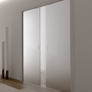 Double satin glass Eclisse Pocket Door System