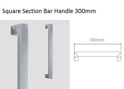 Square section Eclisse glass door bar handle