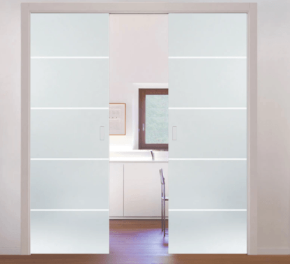 Patterned double glass Eclisse pocket door system