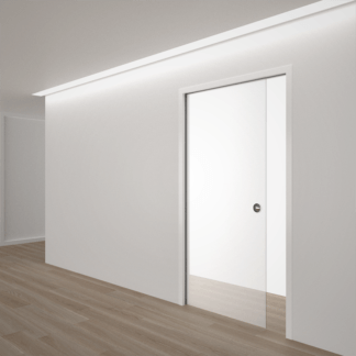 Single satin glass Eclisse pocket door